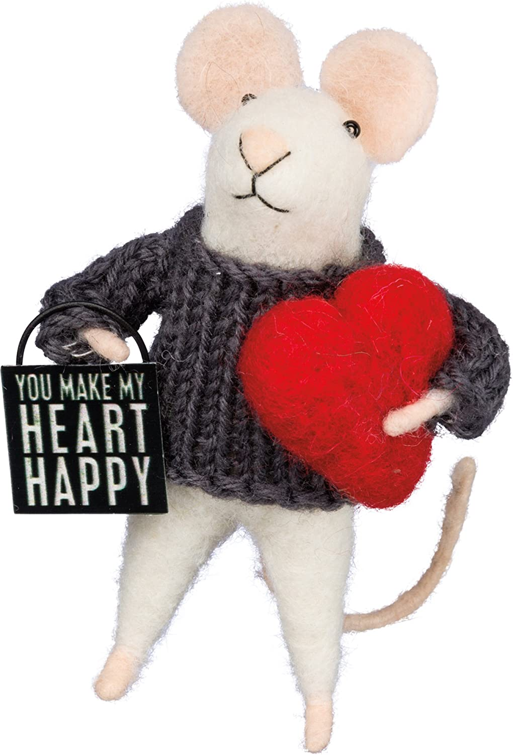 "Primitives by Kathy Box Sign Mouse - Heart Happy Size: 4.50"" Tall"