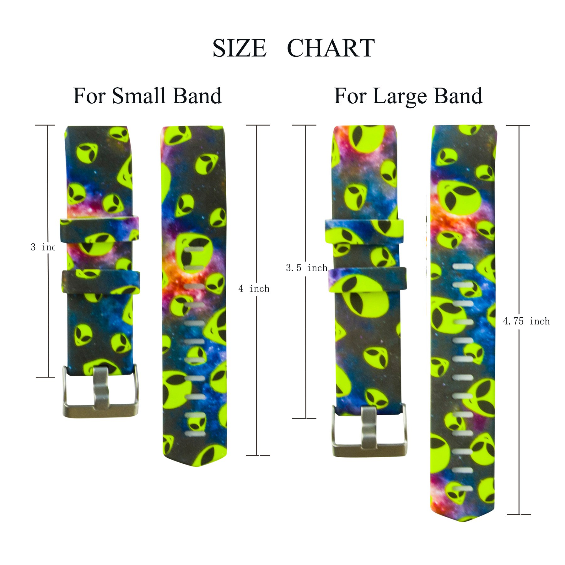Fitbit Charge 2 Band,Soft Silicone Adjustable Replacement Sport Strap Floral Design Bands with Classic Buckle Fitness Accessory Wristband for Fitbit Charge2 (Pattern-5, Large (Wrist 6.5\