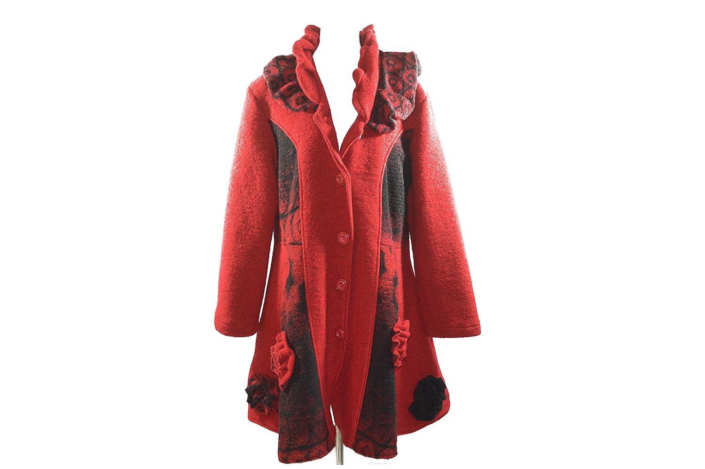 Rot-schwarzer auffallender Mantel mit Blumenstickereien