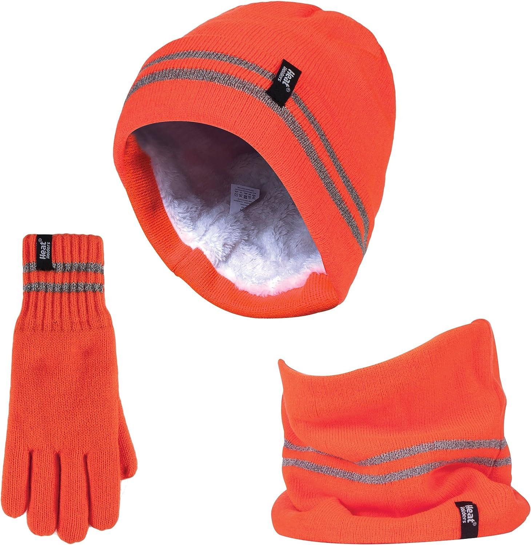 Large // X-Large, Orange Heat Holder Gloves /& Neck Warmer Multipurpose Set Hi Vis Thermal Insulated Hat