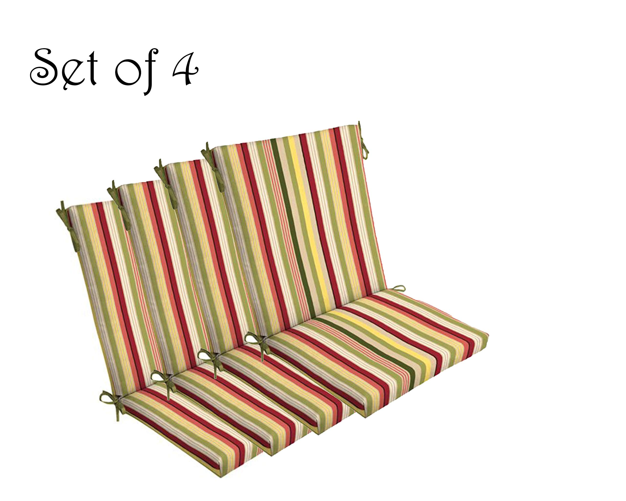 Comfort Classics Inc. Set of 4 Indoor/Outdoor Dining Chair Cushion 20'' x 44'' x 3.5'' in Polyester Multi Striped