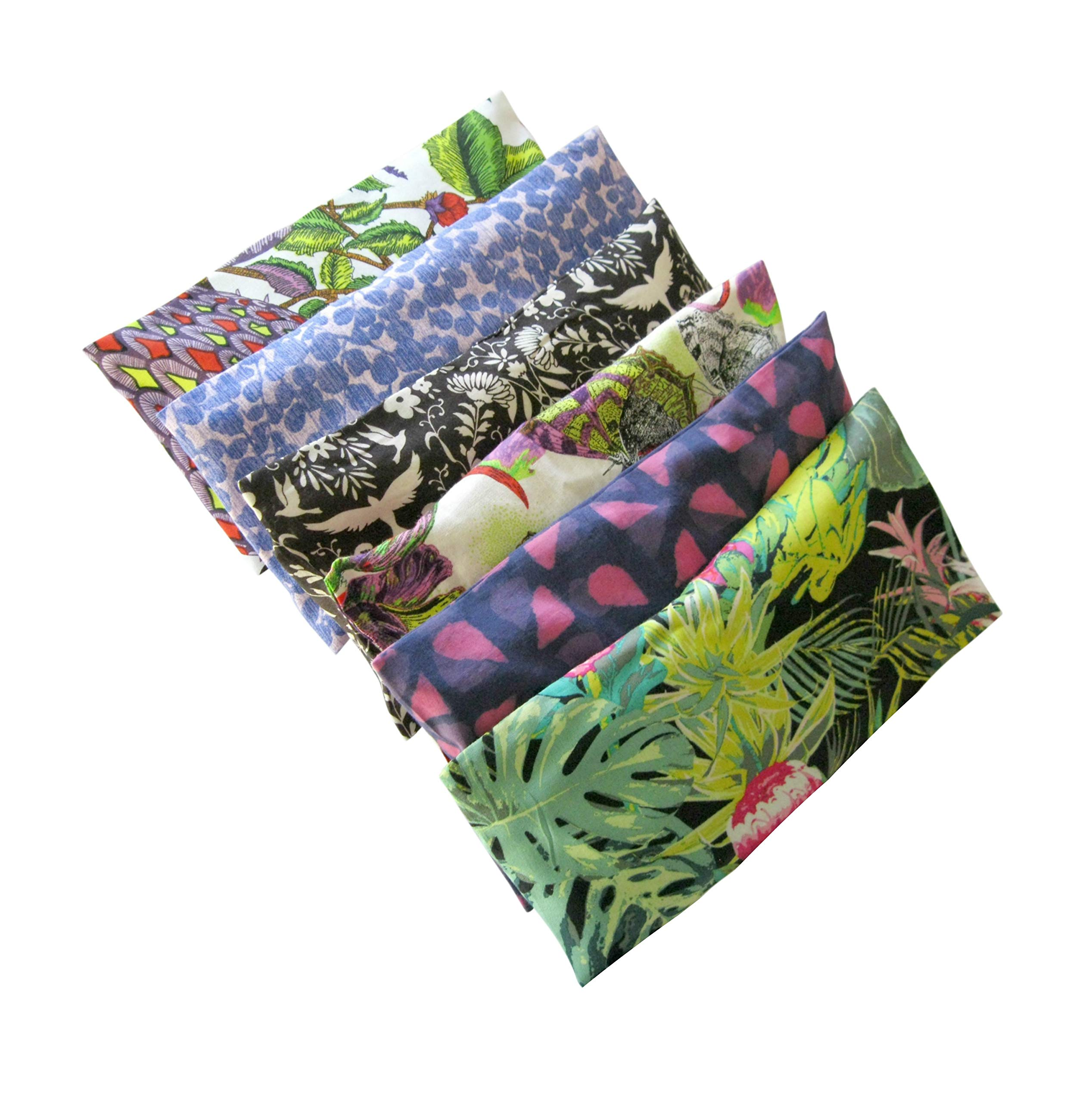Peacegoods Aromatherapy Eye Pillow - Bundle of (6) - 4.5 x 9 - Organic Lavender Chamomile Flax Cotton - Removable Cover Washable - green black pink purple bird butterfly flowers leaves by Peacegoods (Image #1)