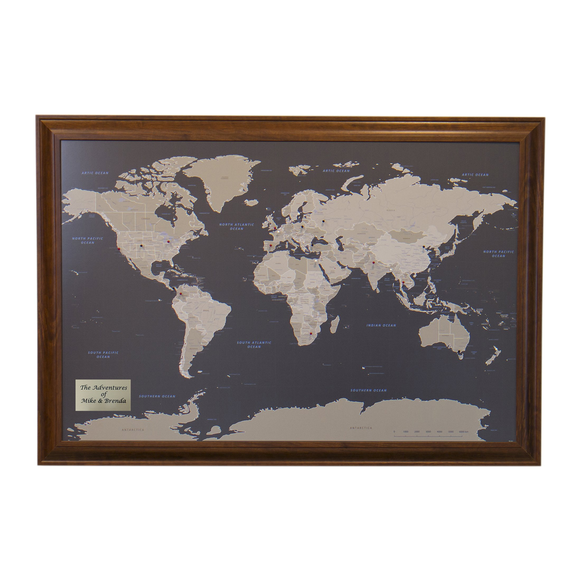 Personalized Earth Toned World Push Pin Travel Map with Brown Frame and Pins 24 x 36