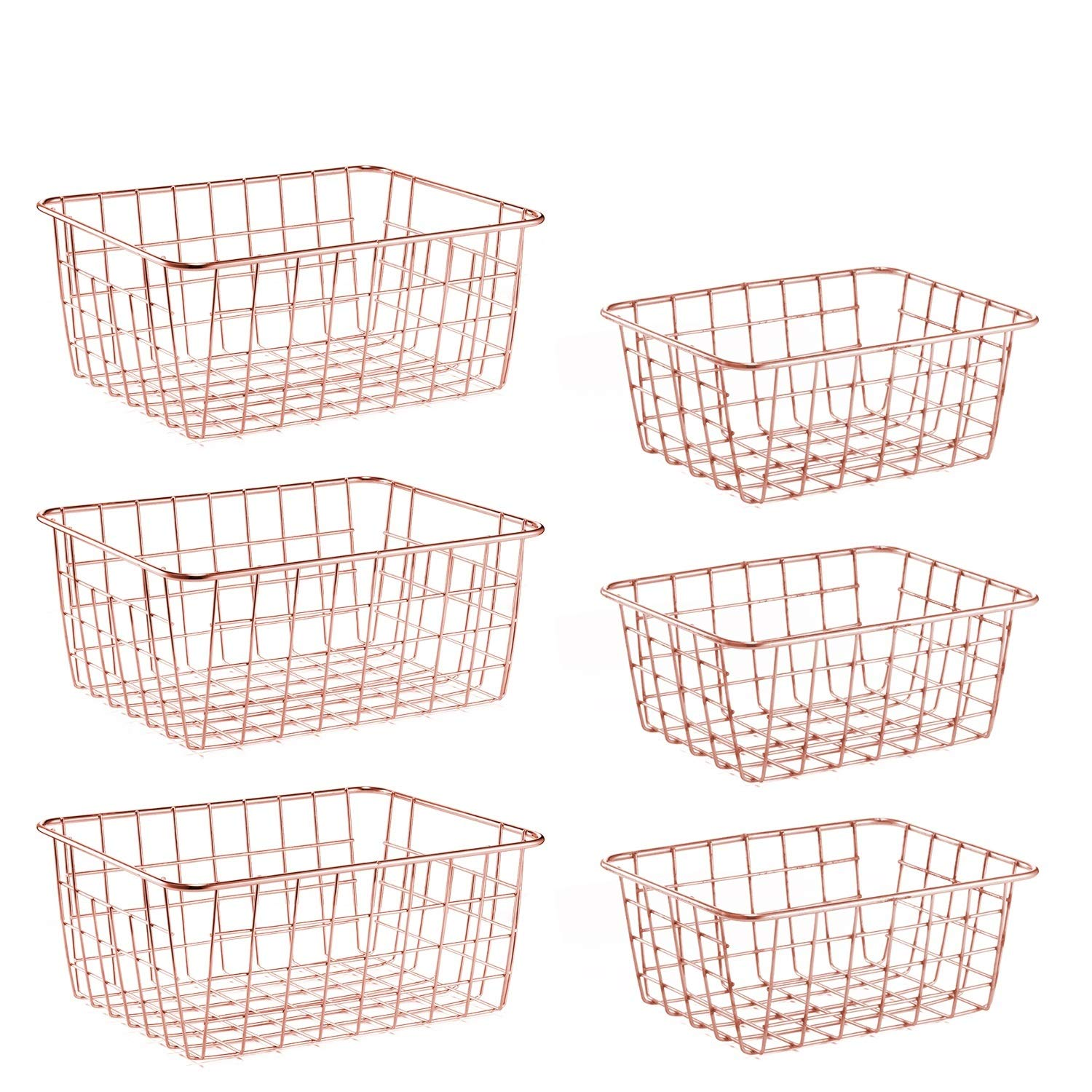 SINARDO Wire Storage Basket Organizer Bin Baskets for Kithen Cabinets Freezer Bedroom Bathroom (6, Rose Gold)