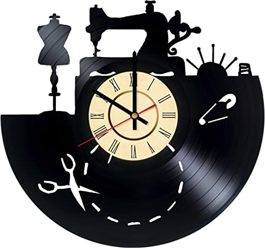Sewing Machine Room Seamstress Tailor Mouse Vintage Art Decor Sign Wall Clock