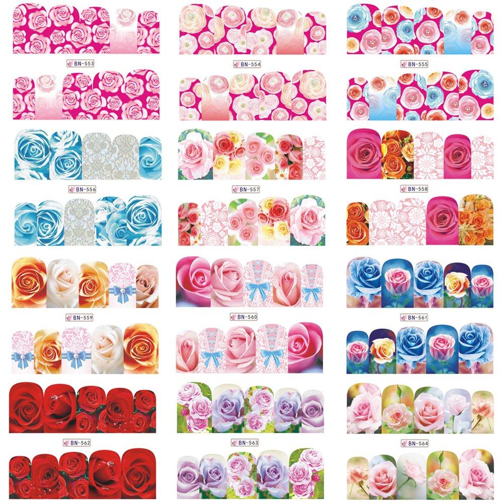 Wliyagg 12fogli/set multi-style Flower DIY nail art sticker donne manicure decalcomanie