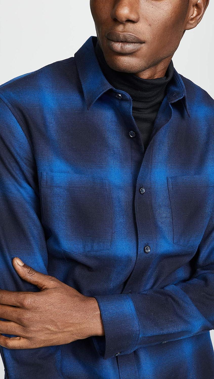 Vince Mens Shadow Plaid Long Sleeve Shirt