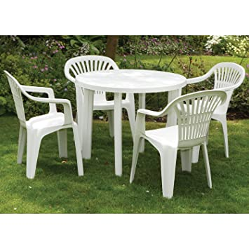 WorldStores Salon de jardin en plastique 1 table et 4 ...