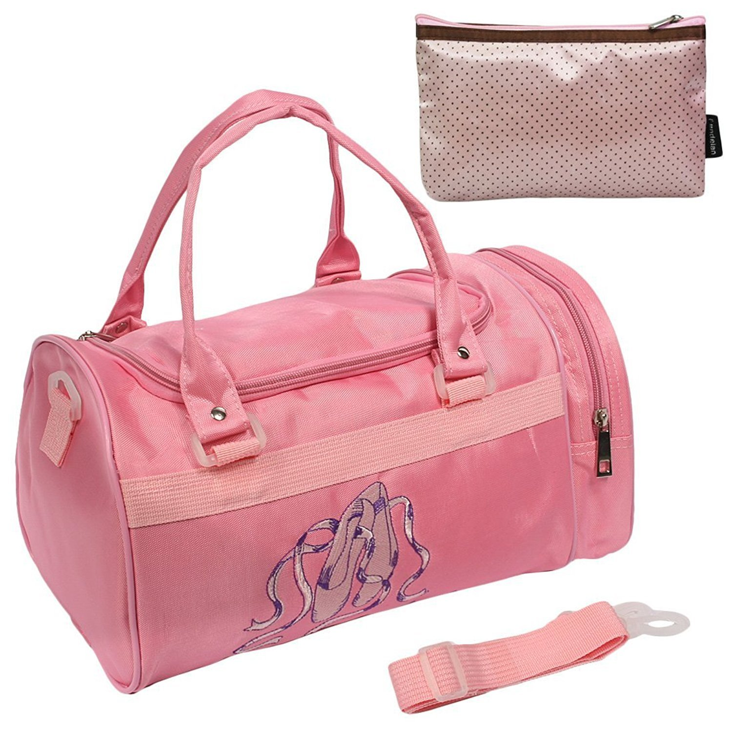 kilofly Ballerina Ballet Slippers Dance Bag with Side Compartment Handy Pouch