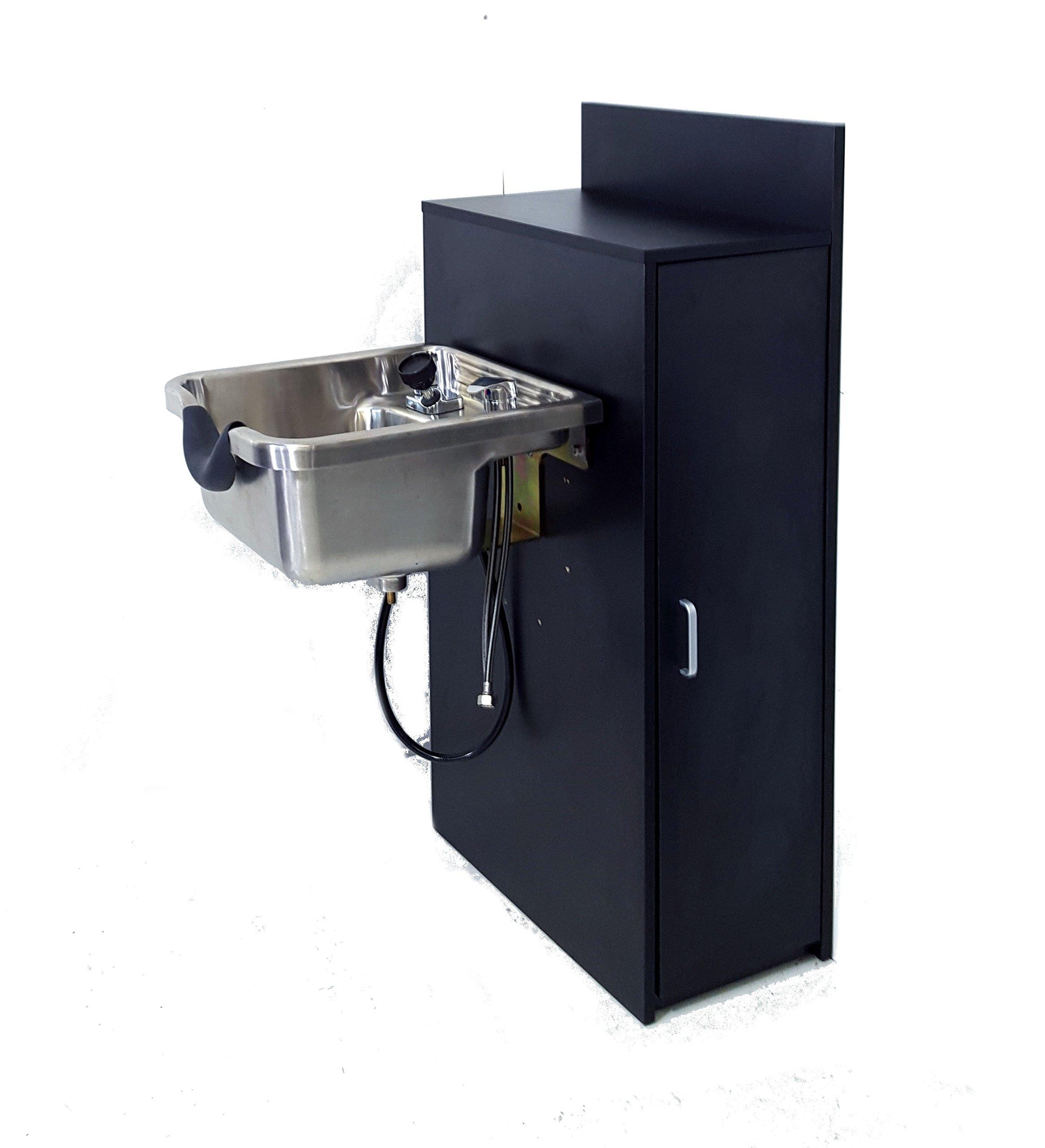 Stainless Steel Shampoo Bowl Floor Cabinet w/ Storage 1167-BC42