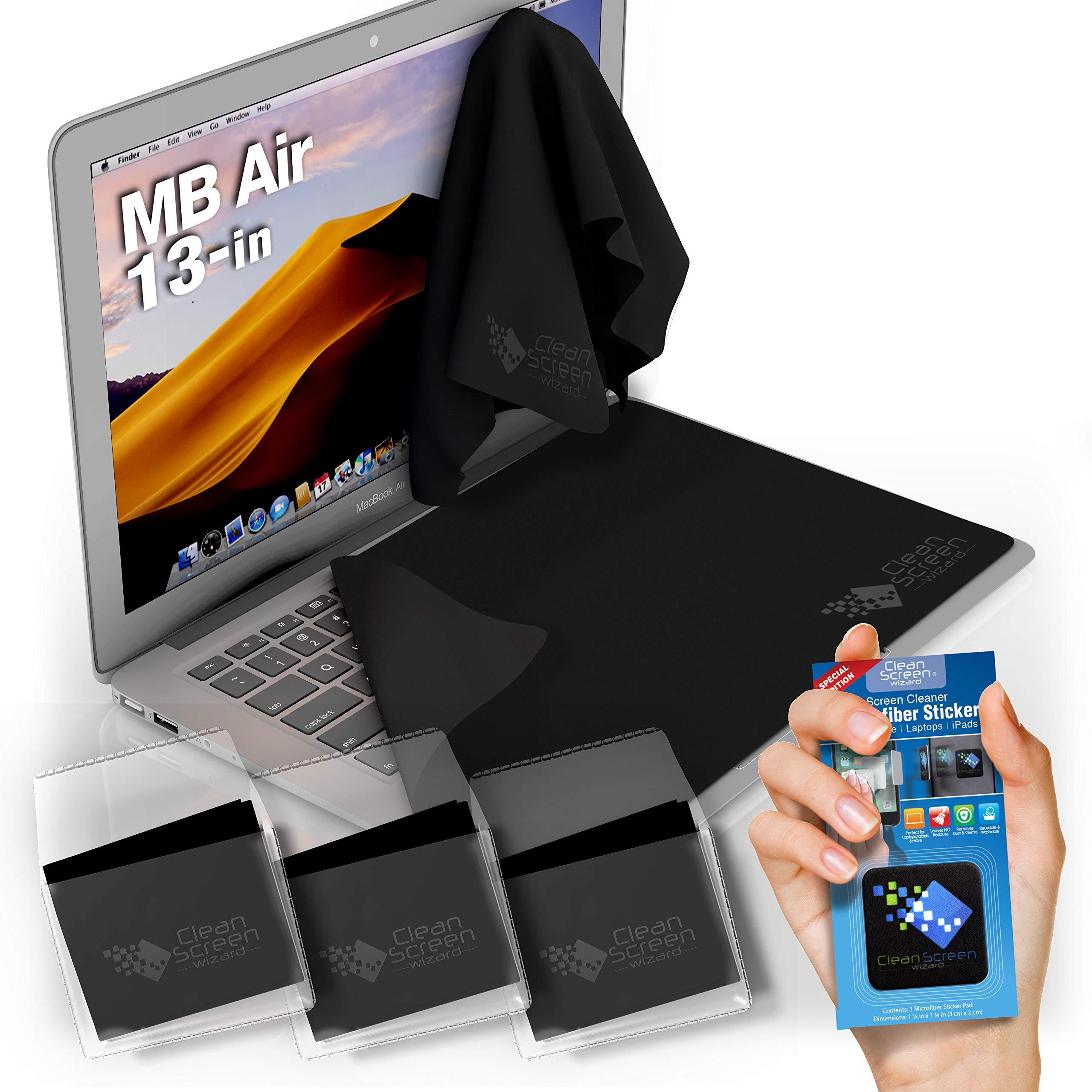 CLEAN SCREEN WIZARD Microfiber Cloths Screen Keyboard Covers/Screen Keyboard Protectors Cleaners for MacBook Air 13'', 4 PCS Bundle (Black)