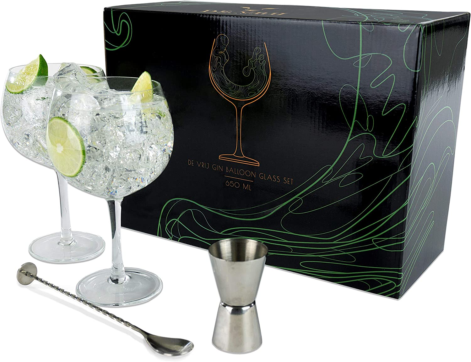 NEW A Pair  Stunning Tanqueray Green Stemmed Gin Balloon Glasses