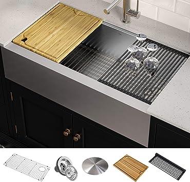 Kraus Kore 36 Inch Workstation Farmhouse Apron Front 16 Gauge Stainless Steel Kitchen Sink Amazon Com