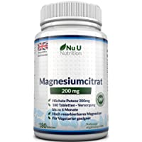 Magnesium Citrate 200mg 180 Tablets by Nu U - 6 Month Supply of Magnesium Tablets