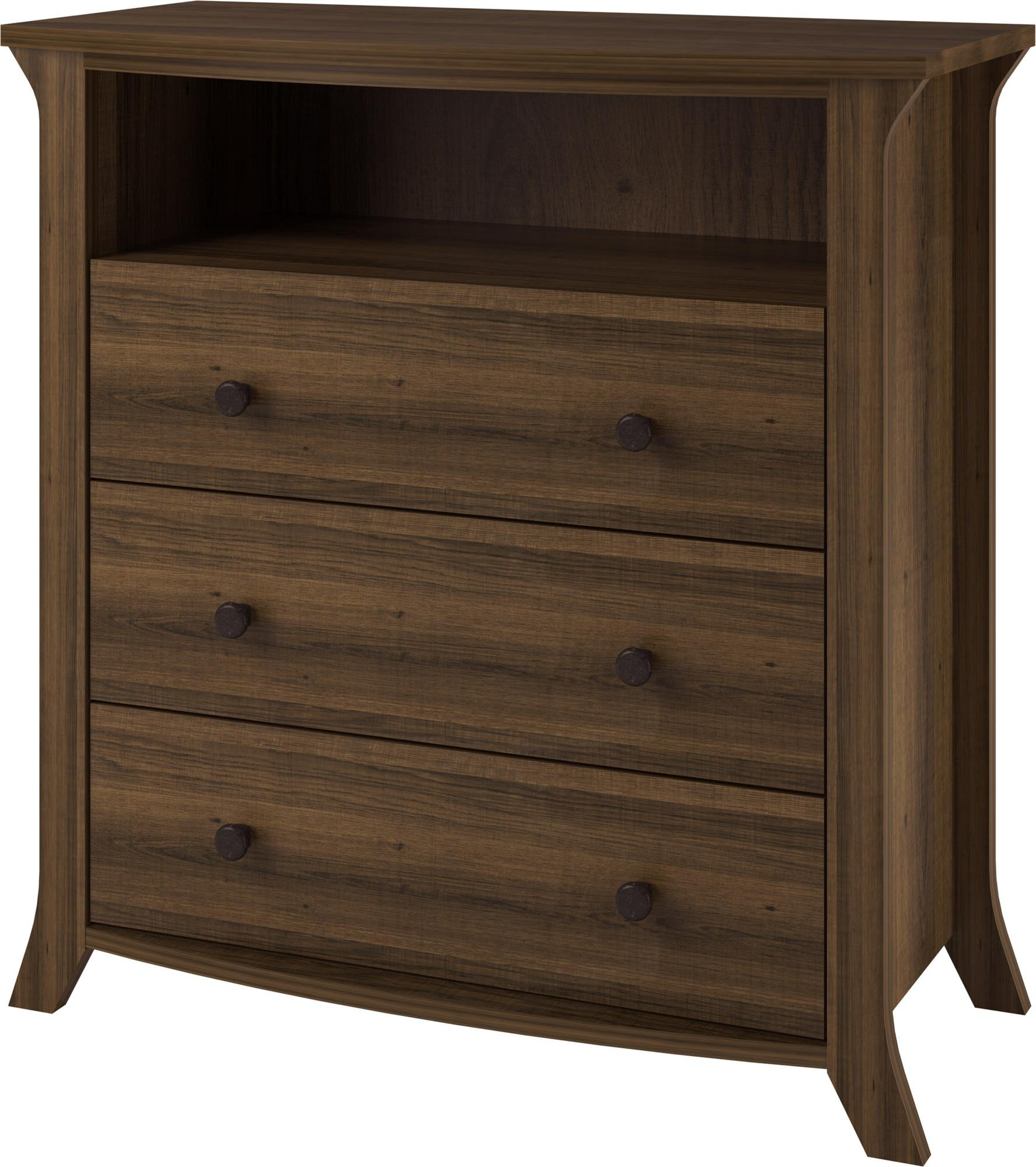 Ameriwood Home Oakridge 3 Drawer Media Dresser, Brown Oak