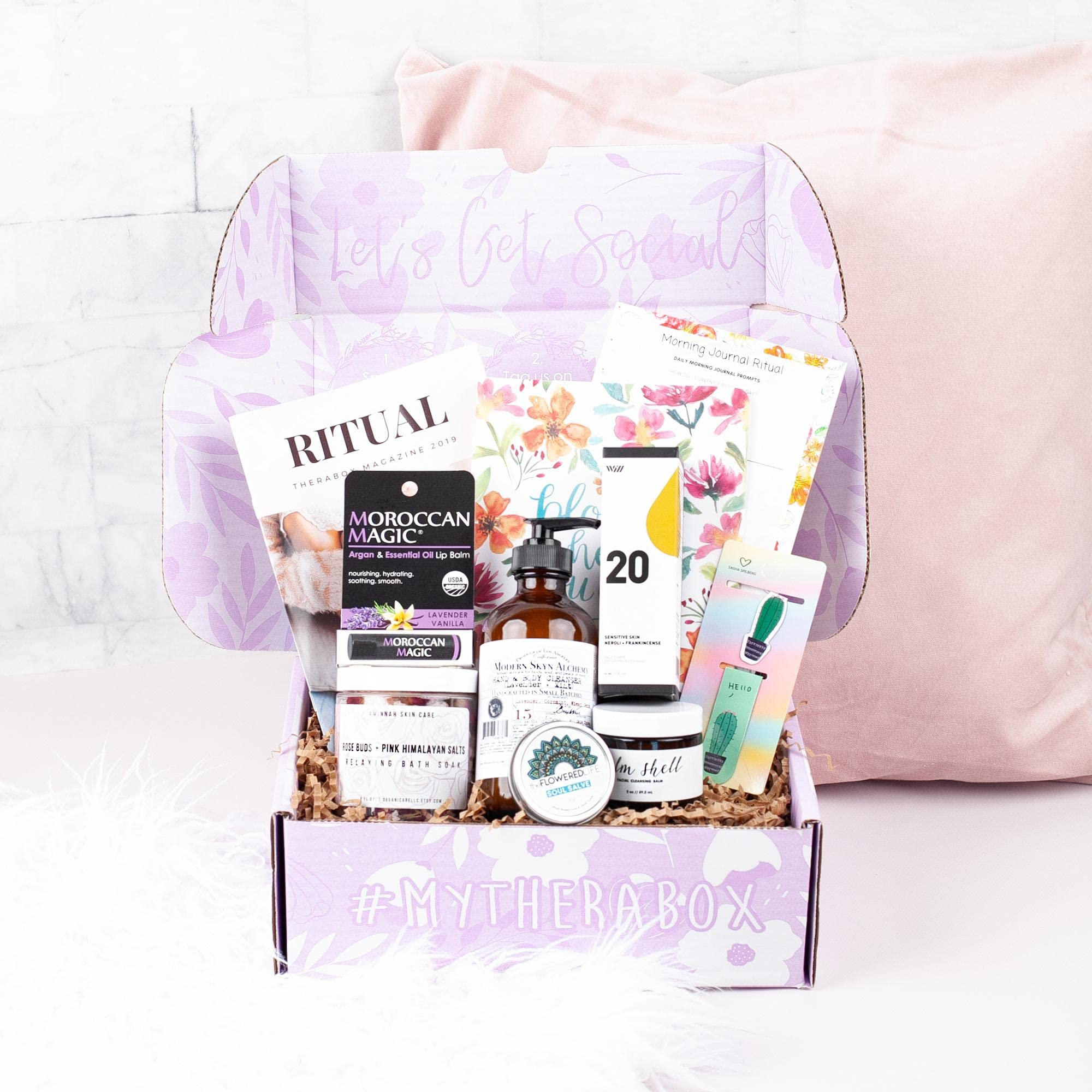 Therabox subscription box. Best subscription boxes for self care and wellness. Best self care gift box. Self care gift basket for her.