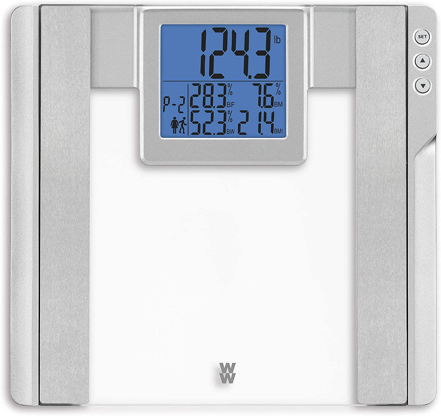 WW Scales by Conair Body Analysis Glass Bathroom Scale-Measures Body Fat, Body Water, Bonemass & BMI; 4 User Memory, Measures up to 400 lbs; Glass with Silver Accents & 3.8