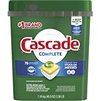 Cascade Complete Dishwasher Pods, Actionpacs Dishwasher Detergent, Lemon Scent, 78 Count