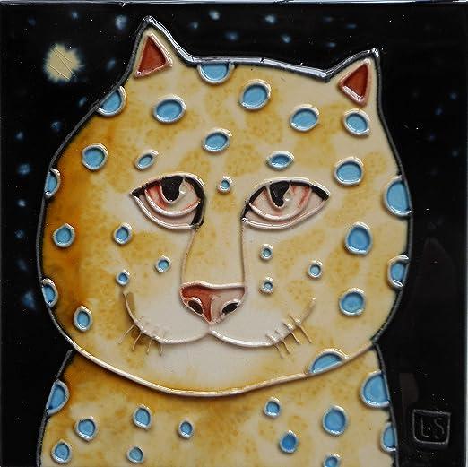 Tile Craft cat ceramic art tile with easel back