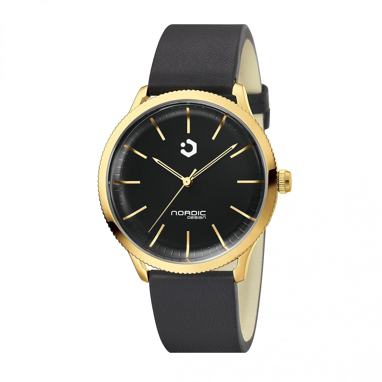 NORDIC DESIGN HAMAR III Unisex gold Edelstahl - schwarz - Armband: Echtleder schwarz 20mm -