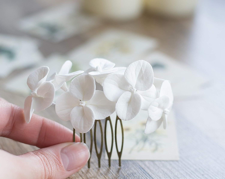 White Hydrangea Hair Comb Flower Hair Comb Garden Flowers