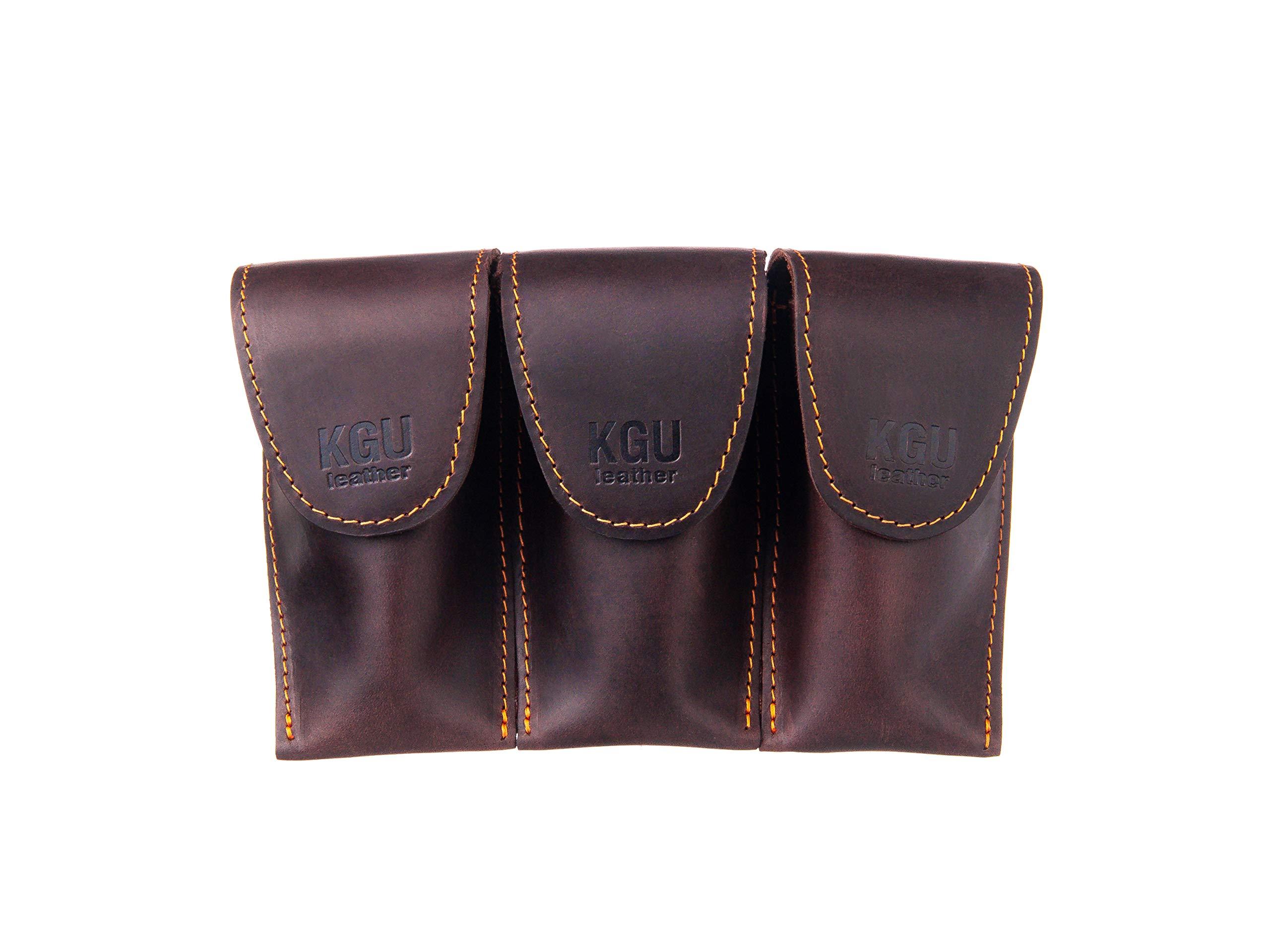 Trombone/Euphonium Mouthpiece Pouch. KGUBrass.''Crazy Horse'' Leather. (Triple, Brown) by KGUBrass
