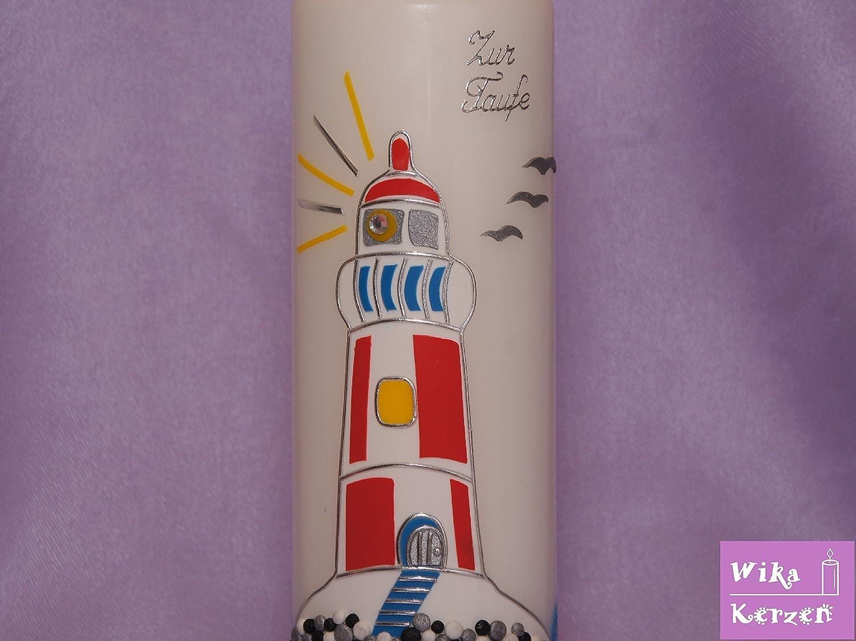 Taufkerze Leuchtturm 2 28x7 cm Kommunionkerze Taufkerzen f/ür Junge und M/ädchen