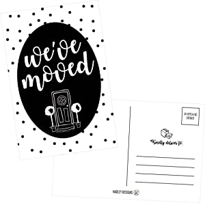 Set of 50 Polka Dot We've Moved Postcards, Change of Address Moving Announcements, House Warming Gifts, Weve Moved Cards, We Have Just Moved New Address Note Cards, Pack of Real Estate Home Postcard