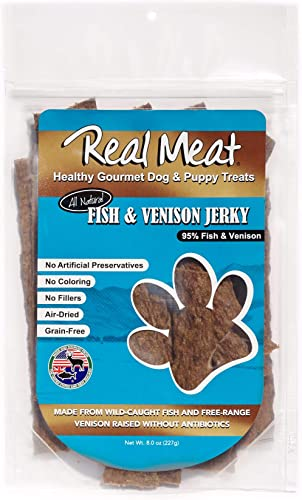 The Real Meat Company 828034 Dog Jerky Fish Venison Strips Treat, Long, 8-Ounce