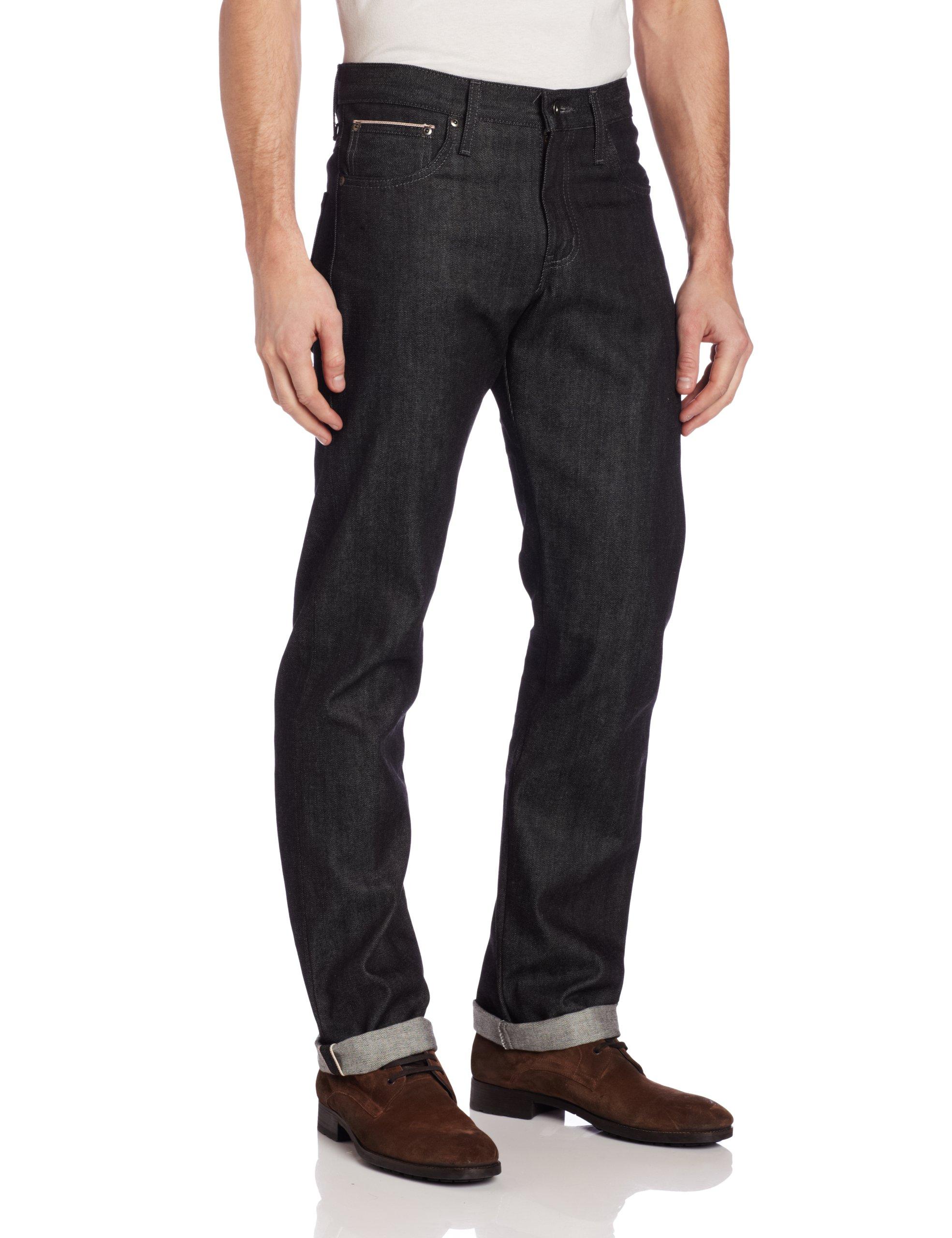 Naked & Famous Denim Men's SlimGuy Mid Rise Slim Fit Jean In Black Selvedge, Black Selvedge, 29x35