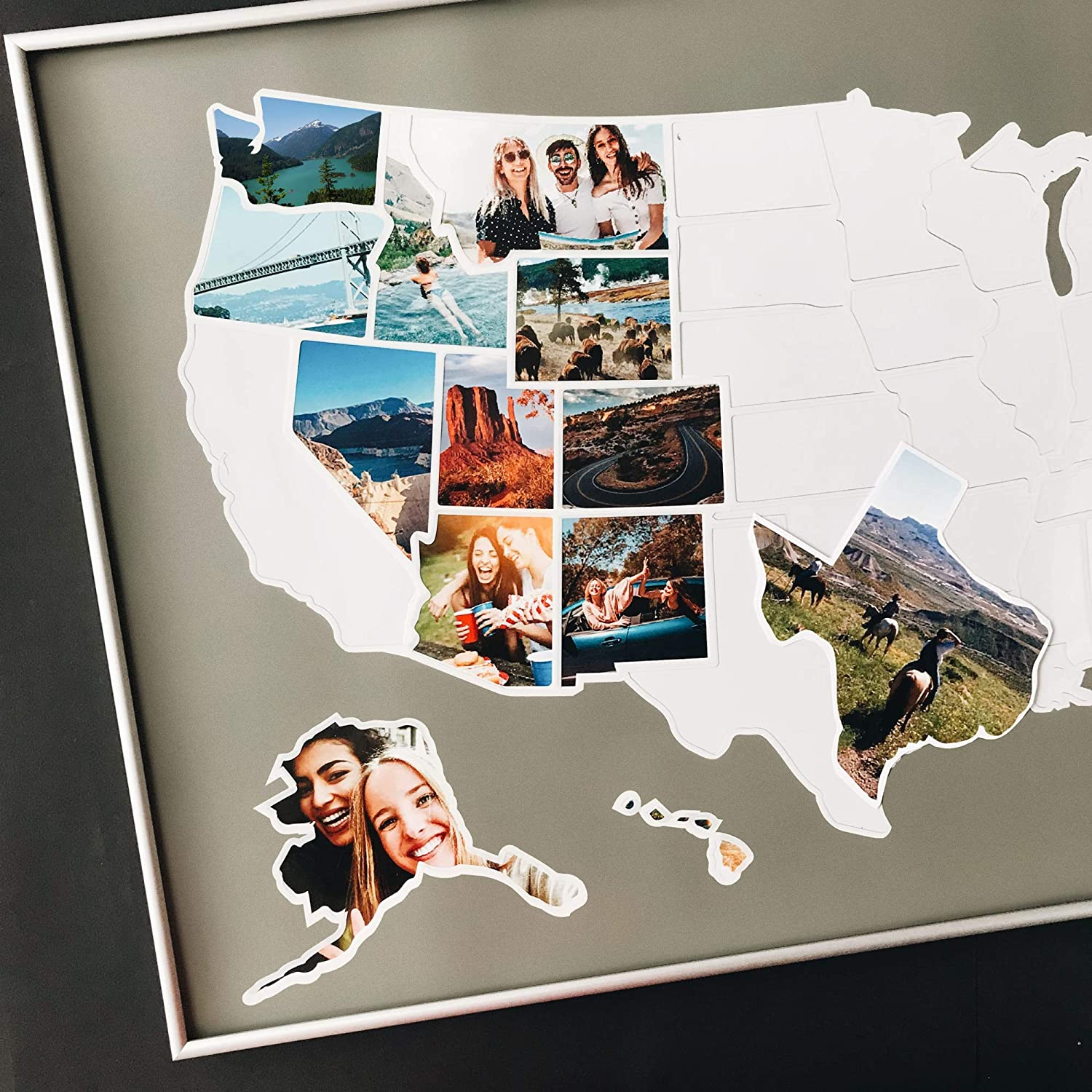 Us Map Picture Frame Amazon.com: USA Photo Map   50 States Travel Map   Fits 24 x 36 in