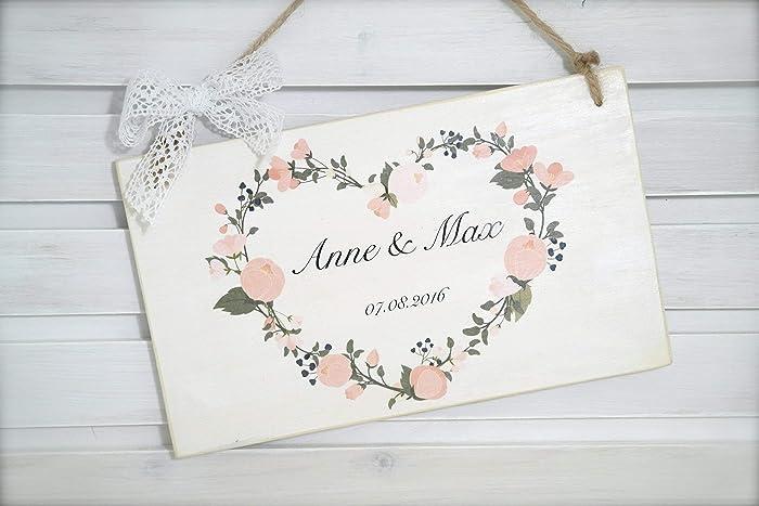 Turschild Zur Hochzeit Mit Blumenherz Und Datum Individuelles