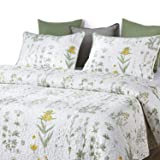Wake In Cloud - Botanical Quilt Set, Yellow Flowers Green Leaves Floral Pattern Printed on White, 100% Cotton Fabric with Soft Microfiber Inner Fill Bedspread Coverlet Bedding