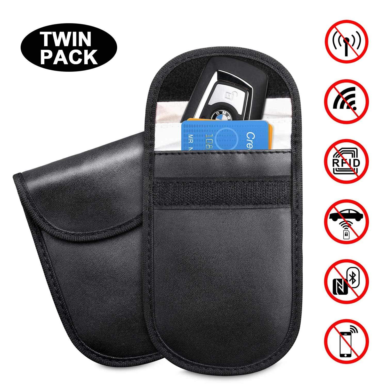 2 Pack Car Key Signal Blocker Bag Keyless Entry Fob Guard Blocking Faraday Pouch RFID/NFC/WiFi/GSM Signal Blocking Case Key Protection for Car Keys Credit Cards Mobile Phone Phone