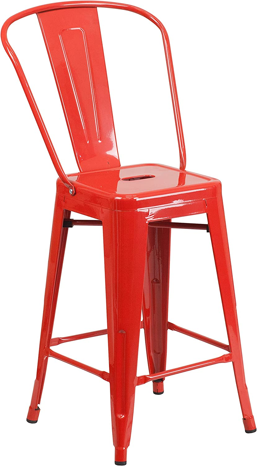 "Flash Furniture Commercial Grade 24"" High Red Metal Indoor-Outdoor Counter Height Stool with Removable Back"