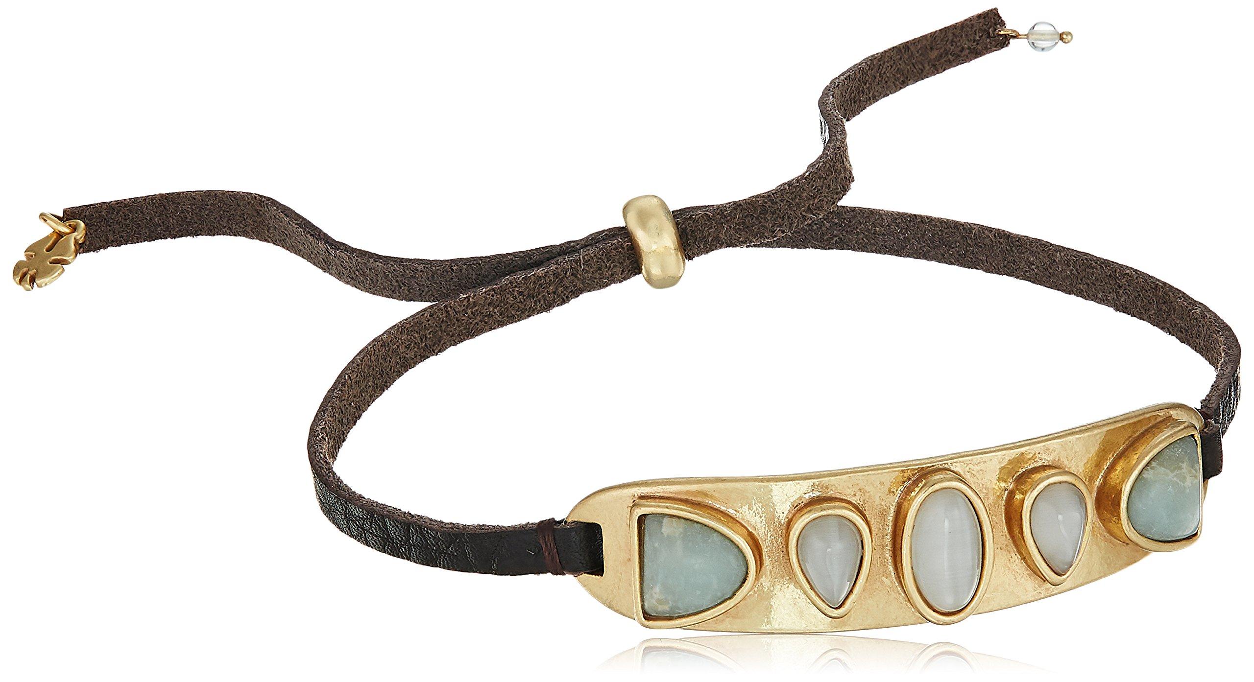 Lucky Brand Women's Set Stone Cuff Bracelet, Gold, One Size