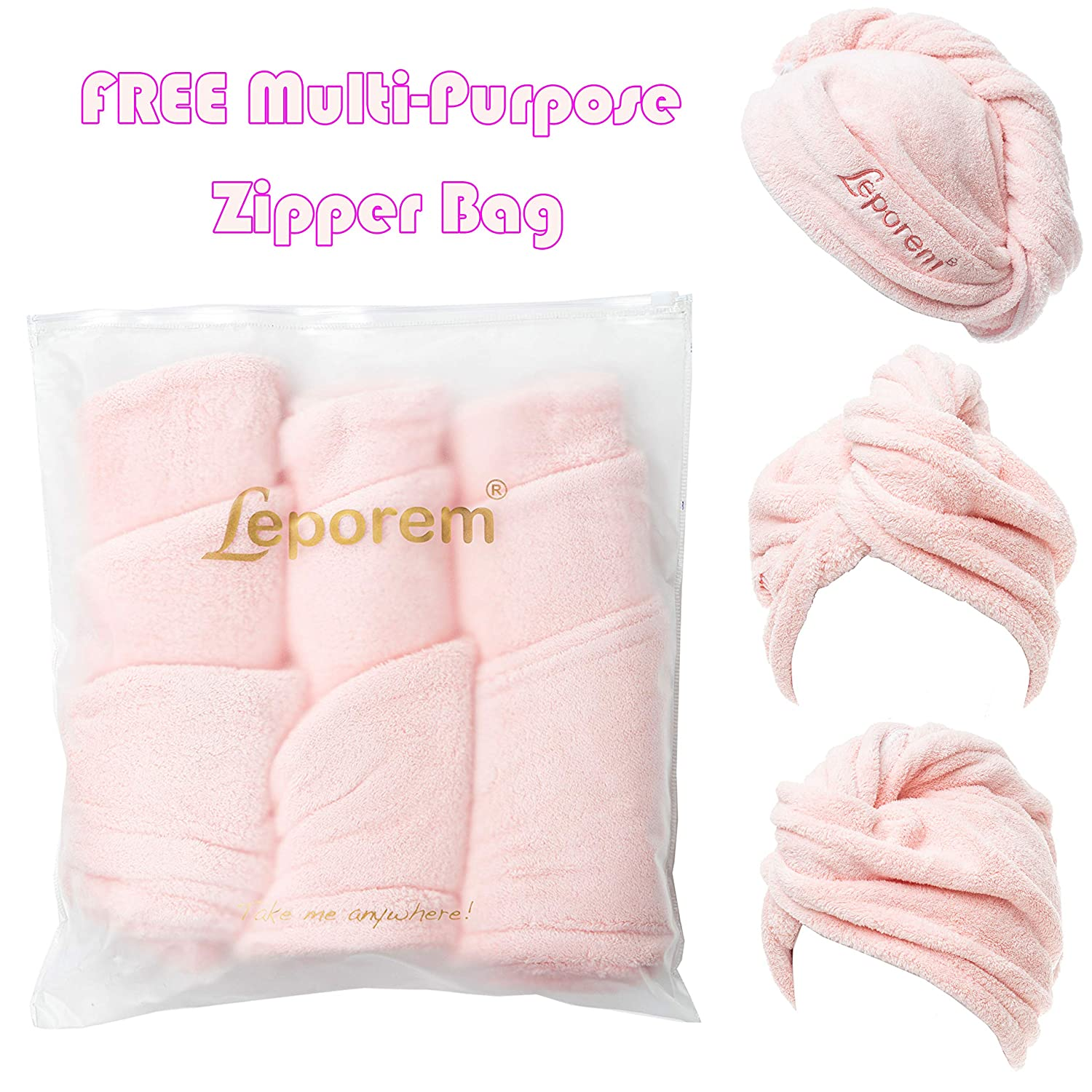 "3 Pack Hair Towel - LARGE 10"" X 26"" Premium Microfiber Hair Towel Wrap, Super Absorbent & Quick Drying Hair Towel Turban for Dry, Curly, Long & Thick Hair, Large Beautiful Hair Wrap Towel (Pale Pink): Home & Kitchen"