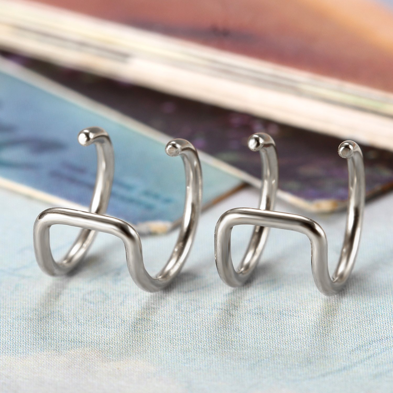 Flongo Womens Mens Stainless Steel Non-Piercing Fake Ear Plugs Clip-on Cartilage Earrrings