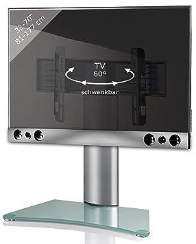 Vcm Pedestal Sbm900 Tv Wall Bracket Incl Soundbar Holder Silver