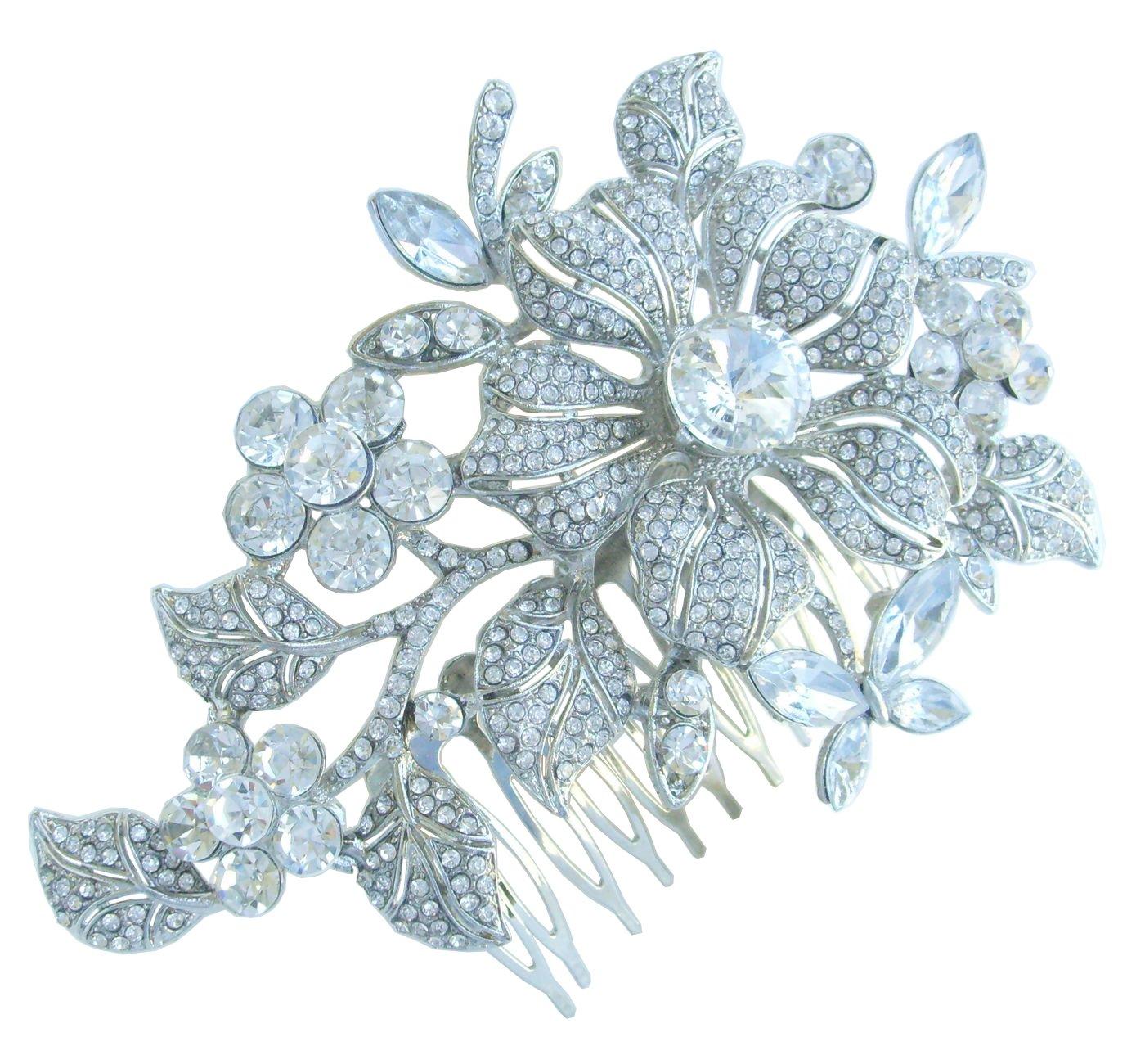 Sindary Wedding Jewelry 4.72'' Pretty Bridal Orchid Flower Hair Comb Rhinestone Crystal HZ4712