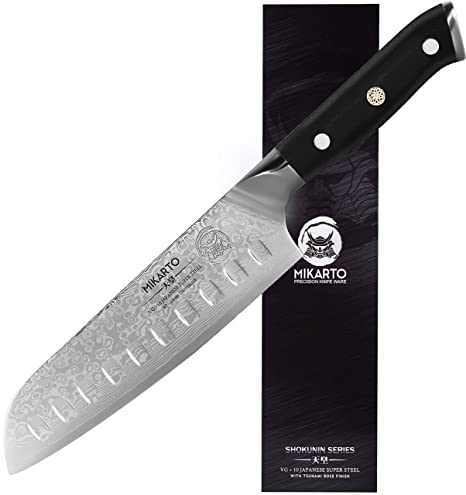 Santoku Japanese Chef Knife 7 Inch Professional Grade Damascus Stainless Steel Knife With