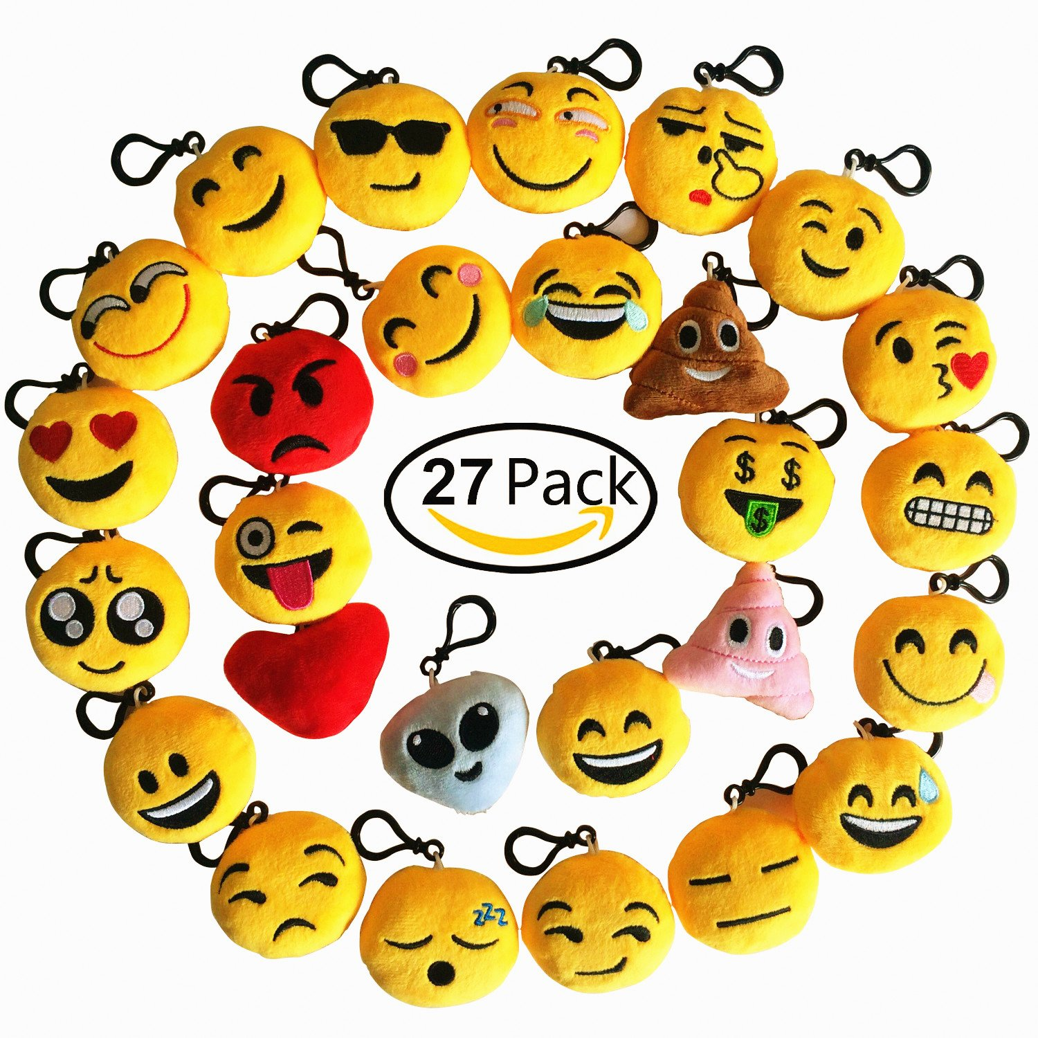 Online cheap wholesale time killer emoji keychain 27 pack birthday party supplies favors gift for kids students christmas party favors suppliers
