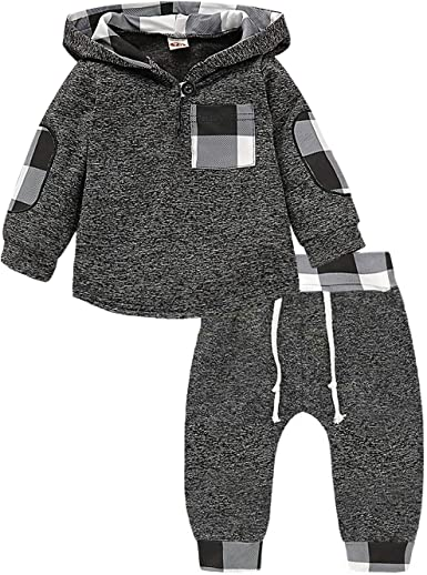Xshuai/® 2PC Infant Toddler Baby Boys Girls Clothes Long Sleeve Plaid Hooded Pullover Tops Sweater Pants Outfits Set