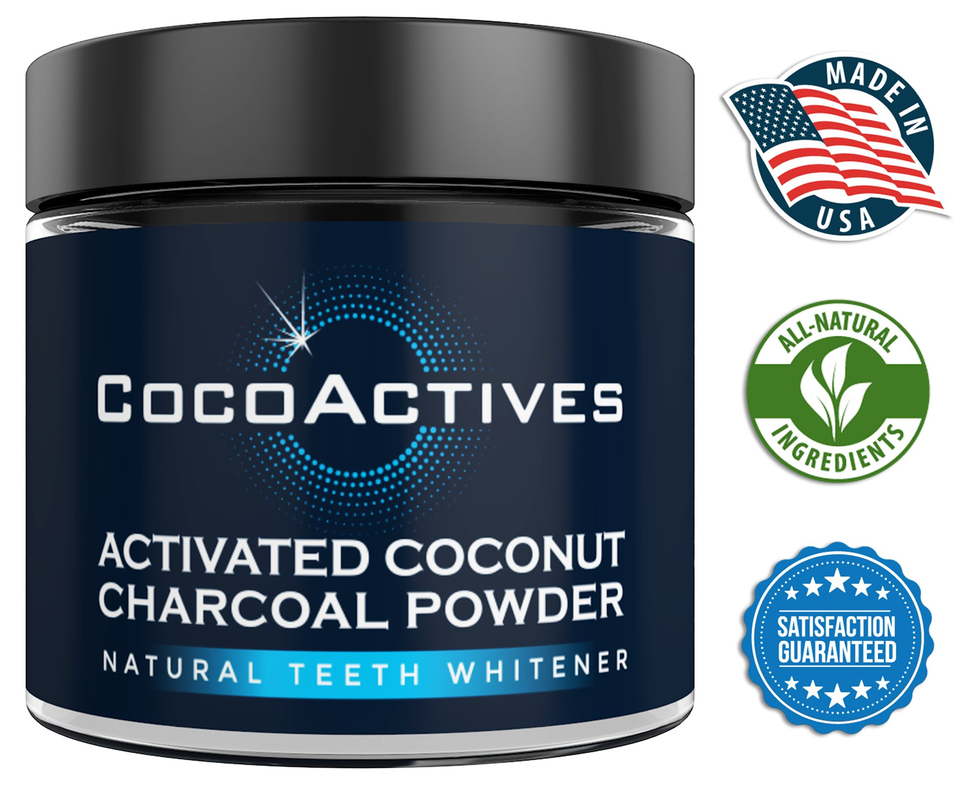 Activated Charcoal Teeth Whitening Powder - by CocoActives - Tooth Powder, Organic Coconut Charcoal Powder - Natural Teeth Whitening & Tooth Polish- Made in USA, Removes Stains, Fluoride Free, Non-GMO
