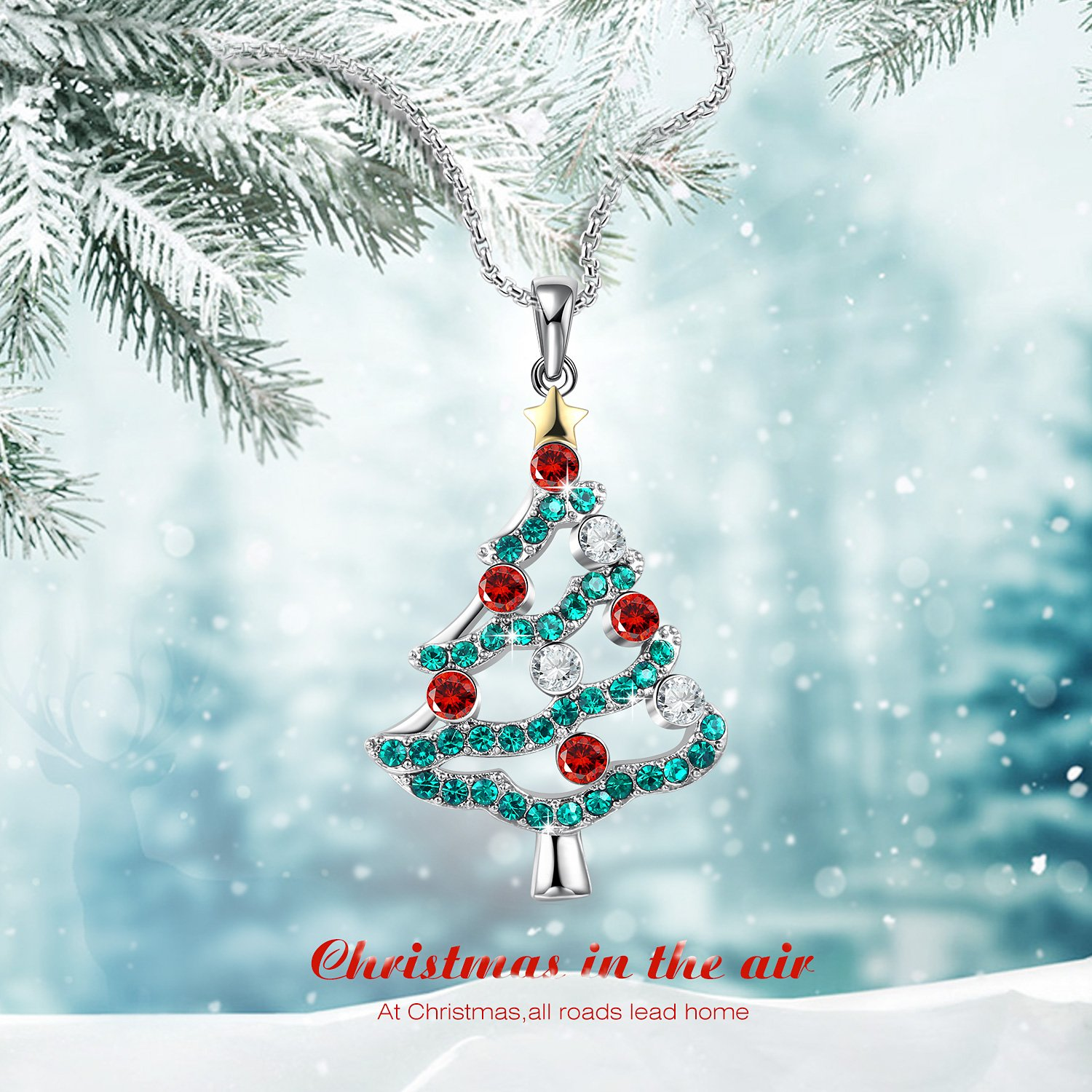 Christmas In The Air.George Smith Christmas In The Air Christmas Tree Pendant Necklace Gifts For Girls Daughter Wife Mother Crystals From Swarovski