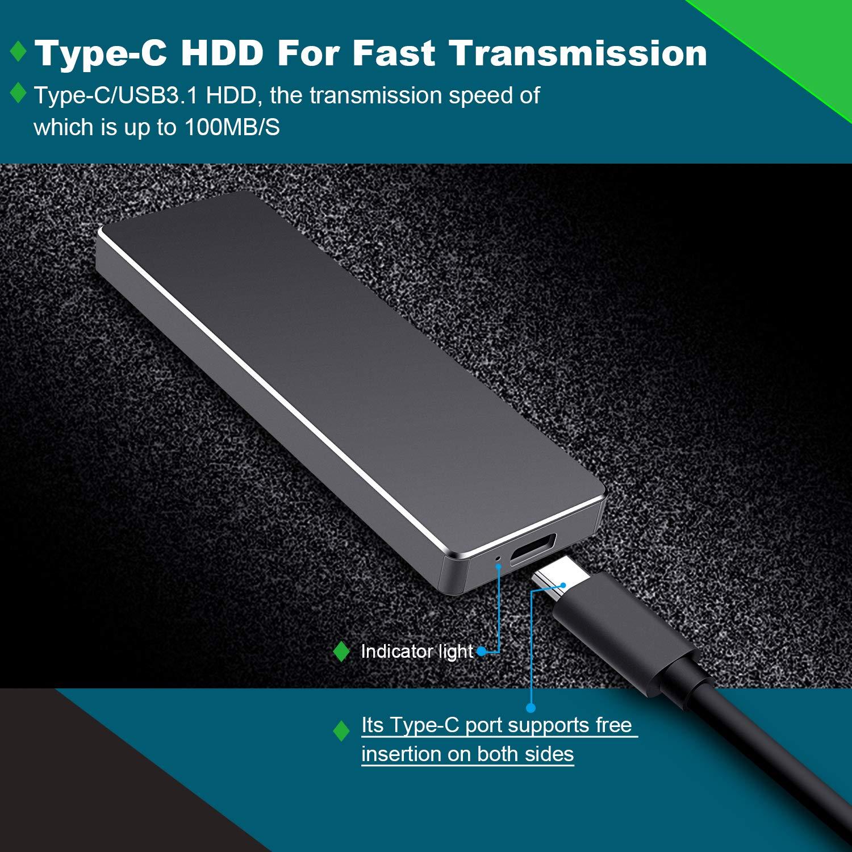 MacBook Desktop Laptop Mac 2tb, Plata Xbox One Proking Disco Duro Externo Port/átil 2TB Chromebook Type C USB3.1 SATA HDD Almacenamiento para PC