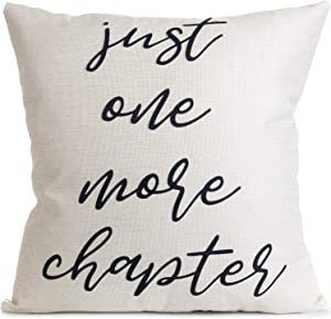 Arundeal Decorative Throw Pillow Case Cushion Covers, Cotton Linen 18 x 18 Inches, Just One More Chapter for Libary Book Lover Sofa Couch Bed Decor