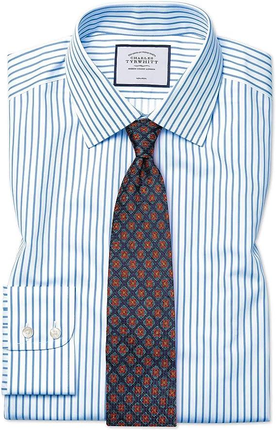 Camisa sin Plancha Blanca y Azul Celeste de Sarga Slim fit a Rayas: Amazon.es: Ropa y accesorios