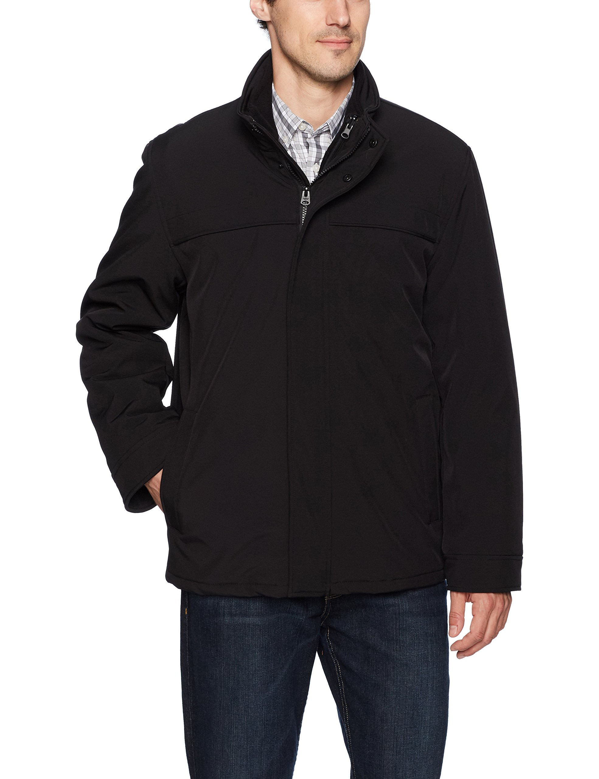 Dockers Men's 3-in-1 Soft Shell Systems Jacket with Fleece Liner, Black, Large