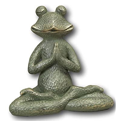 "Large Magnesium Yoga Posing Frog Garden Decor Statue ~ 14.5"" ~ Heavy : Garden & Outdoor"